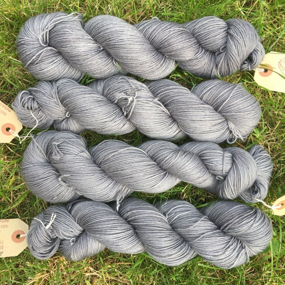 A Nice Grey, hand-dyed 75/25 merino nylon blend platinum sock yarn