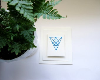 geometric blue paper embroidery/READY TO SHIP/paper embroidery/ stitch art/ hand stiched/ hand embroidery/ modern hand embroidery