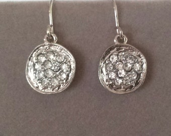 Earrings Swarvoski Crystals Set in Antique Silver