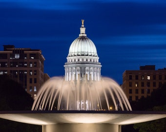 Madison Wisconsin Photography, Wisconsin State Capitol, Water Fountain, Downtown Madison, Monona Terrace