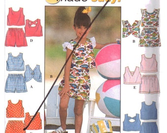 Simplicity Sewing Pattern 7666 Girl's Top, Shorts  Size:  AA  3-4-5-6  Uncut