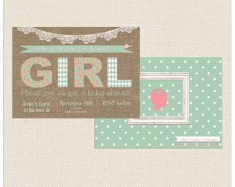 Burlap Baby Shower Invitation