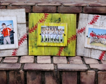Baseball plank picture frame; softball frame; kids room decor; recycled wood picture frame; distressed frame;
