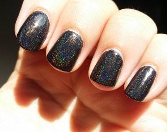 Black Rainbow~Single Ladies Indie Nail Polish Black Holo 2 Sizes 6/10ML
