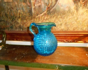 1950s  Hand blown Blue Hobnail 5 in pitcher Amazing  vintage condition
