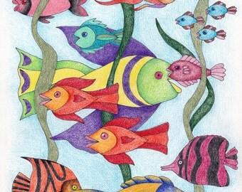 Vertical Fish Greeting Card