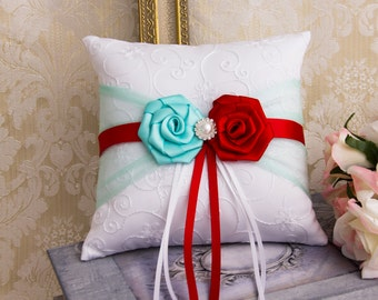Aqua and Red Wedding Ring Bearer Pillow, Wedding Ring Pillow, Red and Aqua Wedding Pillow, Aqua red Wedding Accessories
