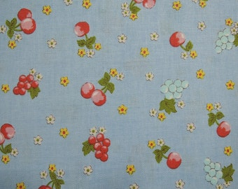 """Half Yard of Yuwa Sunday 9am Cherries, Grapes and Floral Fabric on Blue Background. Approximately. 18"""" x 44"""""""