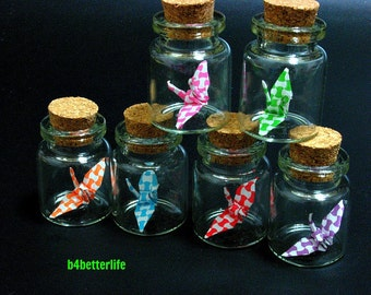 Lot of 6pcs 1-inch Hand-folded Paper Crane In Clear Glass Mini Bottle With Cork. (MD paper series). #CIB06a.