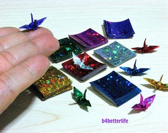 """300 Sheets Assorted Colors 1-inch Origami Crane Paper Folding Kit. 1"""" x 1"""". (4D Glittering paper series). #CRK-83."""