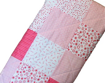 Patchwork Baby Quilt, Baby Girl Quilt, Pink and White Crib Quilt, 33x38, Baby Shower Gift