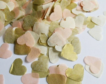 Biodegradable Handmade Peach + Ivory + Gold Tissue Paper Heart Confetti Wedding Party