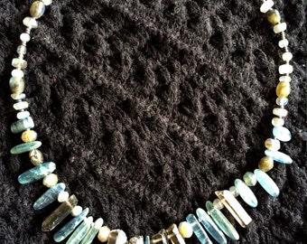 Kyanite~Smokey Quartz crystals~Labradorite necklace