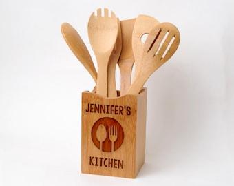 Personalized Kitchen Decor - Bamboo Wood Utensil Holder