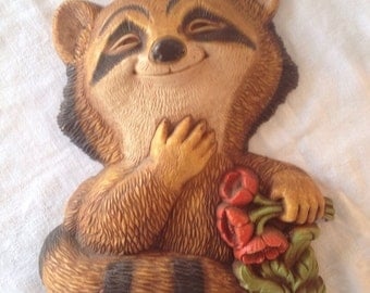 Vintage 1977 Homco Raccoon Wall Hanging made in USA