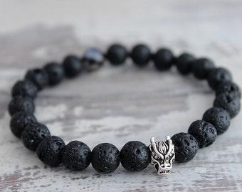 Mens Bracelet Sterling Silver Dragon Black Onyx Lava Bracelet Boyfriend Gift Mens Gift Mens Beaded Bracelet
