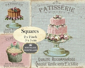 Patisserie & Cupcakes Cakes Squares 2x2 inch squares Instant Download digital collage sheet TW110