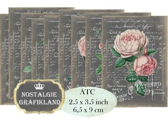 Chalkboard French Roses Instant Download ATC printable digital collage sheet S103 fleurs pink flowers