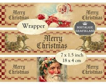 Wrapper Christmas Santa Claus Reindeer Packaging Instant Download digital collage sheet E154