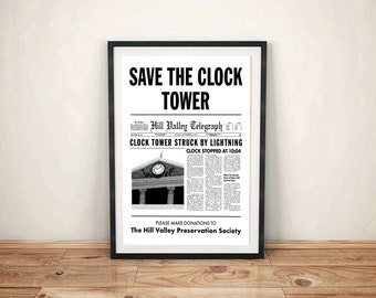 Back to the Future Save the Clock Tower Flyer Movie Trilogy Replica Reproduction Prop Print McFly Delorean Poster Art