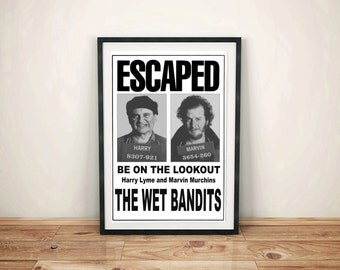Home Alone The Wet Bandits Harry and Marv Wanted Escaped Flyer Poster Kevin McAllister Christmas Movie Prop Framed Gift Free Shipping