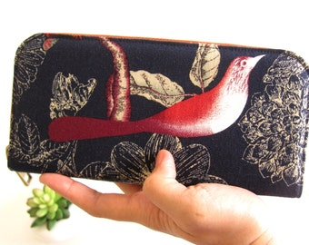 VEGAN WALLET, Womens Wallet on Naturel style, butterfly and birds. Women's Wallet Clutch, Wallets for your goodies Safety and Be You.!!