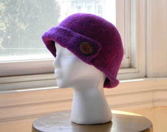 Felted women's wool hand-knit hat in magenta and purple--cloche--asymmetrical flap--Czech glass button--1920s Downton Abbey--Magenta Cloche