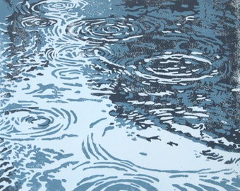 Puddles, original linocut print, hand pulled, 8 x 10 inches, Rain