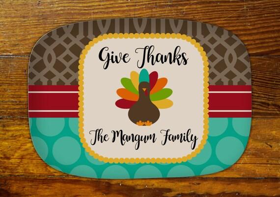 Personalized Serving Platter-Thanksgiving Turkey