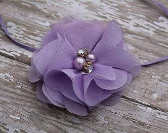 Purple flower headband, easter headband, spring headband, newborn headband, baby photo prop, easter photo prop, lavender headband