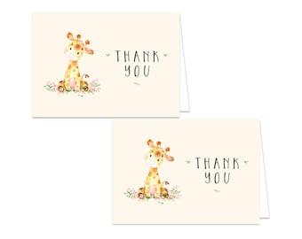 Printable Giraffe Thank You Card - Printable Instant Download - Giraffe Baby Shower Thank You Card - Giraffe Thank You Card