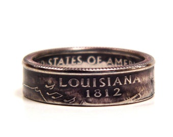 Size 8 Louisiana State Quarter Coin Ring