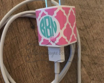 Decal- iPhone Charger Wrap Quatrefoil-iPhone Charger Decal-Monogram iPhone Charger Decal