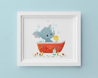 Elephant in Bathtub – 8x10in Children's Art Print
