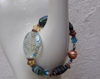 Glass Bead Confetti Bracelet, Multi Color with Magnet Clasp, Free Shipping