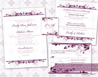 Invitation Template Printable | DIY Wedding Invitation Download (5x7 set) | Flourishing in Plum & Mauve