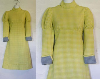 Vintage 1960s Yellow Checkered Mod Dress