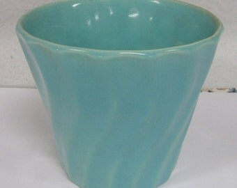 "Vintage Light Blue Swirl Ceramic Pottery Planter Small 5"""
