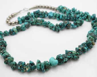 "Vintage Navajo 27"" Heavy Turquoise Nugget Necklace Sterling Silver Beads. [10585]"