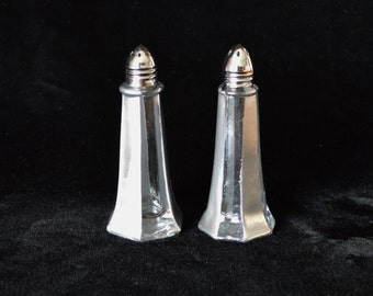 Pair of Silver and Clear Stripe Glass Salt and Pepper Shakers With Stainless Steel Caps-Stocking Stuffer