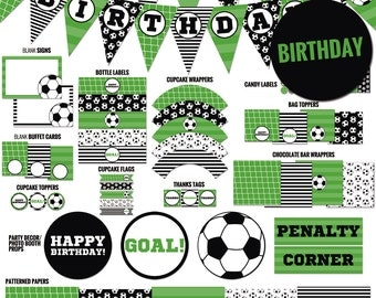 Soccer party package, to decor your soccer birthday party - Printable PDF files.