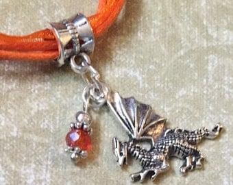 Fantasy Dragon Orange Necklace Sparkling Glass Bead