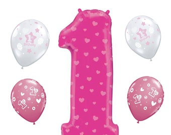 Jumbo Pink 1 Balloon with Hearts Girl 1st Birthday Party Balloons, Baby Girl Balloons, 1st Birthday Party Balloons