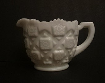 Westmoreland Glass Old Quilt milk glass creamer Perfect condition Great gift!