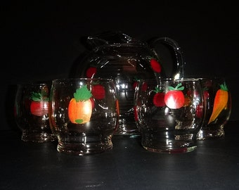Small Ball Pitcher and glasses with hand painted fruit Mid Century Pitcher Small Pitcher with Juice glasses