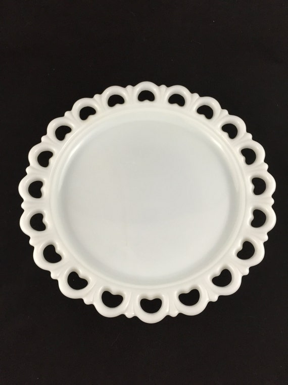 Vintage Lace Edge White Milk Glass Serving Plate Cake Plate
