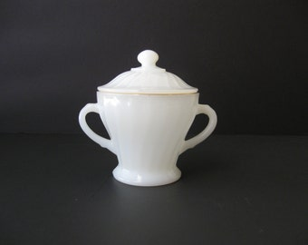 Anchor Hocking White Swirl Milk Glass Double Handled Sugar Bowl with Lid / Gold Trim