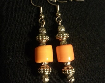 Orange Glass Beads with silver beads Earring Set