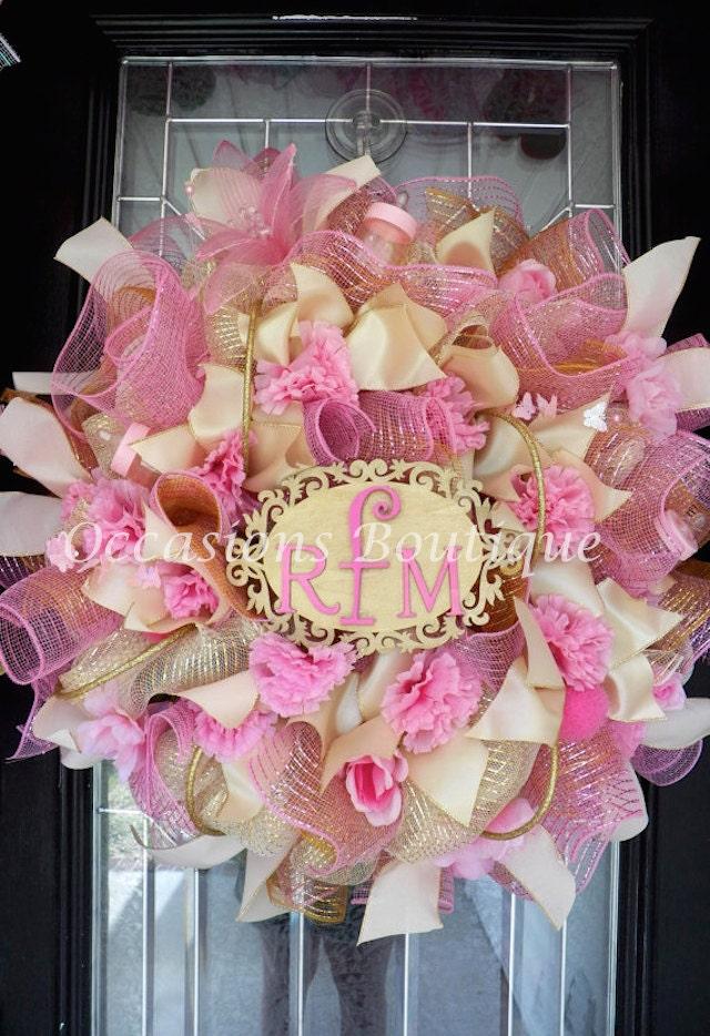 It 39 s a girl new baby welcoming wreath baby door hanger for Baby girl hospital door decoration