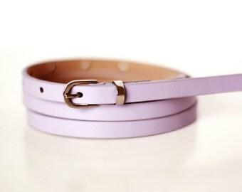 Free shipping! Leather belt, blue belt, lilac belt, waist belt, lilac dress belt, skinny belt, narrow belt, lilac skinny belt